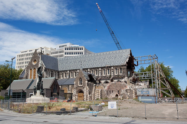 Christchurch Cathedral, after the 2011 earthquake.
