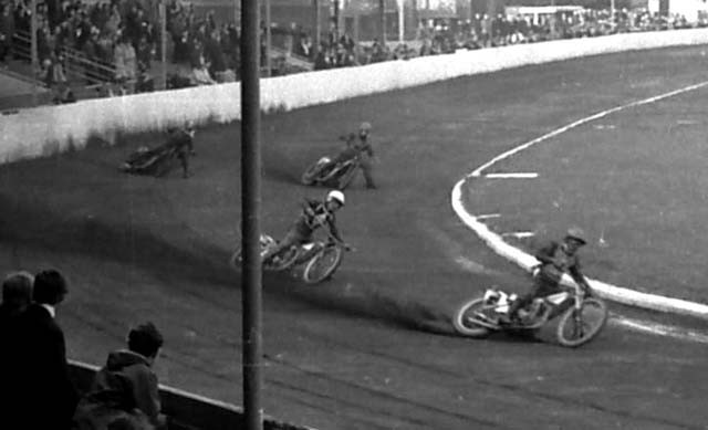 Hyde Road Stadium, Belle Vue, Manchester. The painstaking craft of Dennis Scott's model compares very well.